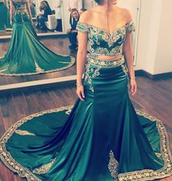 vestidos indianos de duas peças Desconto 2020 Vintage Two Pieces Hunter Green Prom Dresses Com Apliques de Ouro Bordado Kaftan Árabe Indiano Vestidos de Noite Formais