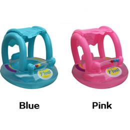 Brinquedos infláveis antigos on-line-2-5 anos de idade Kid Verão Bebê Piscina Flutua Anéis de Natação de Segurança Inflável Swim Flutuar Com Assento Sunshade Jangada Água Piscina Divertida brinquedos