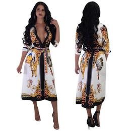 schwarze spandex-baumwoll-minikleider Rabatt Herbst neue 2019 Frauen Mode nationalen Stil Blumenkleid weibliche elegante V-Ausschnitt 3/4 Ärmel Kleider Vestidos