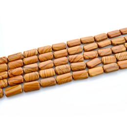 En gros 1 Strand / lot Grain En Bois Naturel Pierre Perles 8x13mm DIY Bracelet Collier Entretoise Perles Pour La Fabrication de Bijoux ? partir de fabricateur