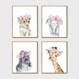 2019 löwe kunst wandmalerei Ainting Kalligraphie Tiere Floral Crown Art Decor Leinwand Gemälde, Baby Girl Prints Tier Giraffe Elefant Lion Wandkunst Bild ... günstig löwe kunst wandmalerei