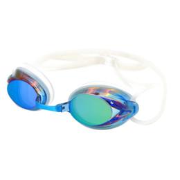 Óculos de natação espelhados on-line-Adulto Óculos de Natação À Prova D 'Água Nevoeiro Chapeamento Colorido Espelho Pequeno Corrida Nadar Óculos Conforto Óculos De Silicone