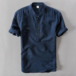 2019 camisetas de lino Algodón de lino de manga corta camisa de los hombres Top Stand Collar botón camisas delgadas masculinas 2019 Verano Streetwear primavera Tees Tops para hombre rebajas camisetas de lino