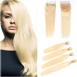 tissu droit péruvien 4pcs Promotion Bleach Blonde Peruvian Virgin Bundles de cheveux humains Offres 4Pcs avec fermeture 5Pcs Lot Droite # 613 Blonde 4x4 Fermeture avant de lacet avec Weaves