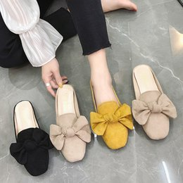 size adult shoes Promo Codes - Luxury Women Slipper With Bow Suede Gouden Slides Mulely Shoes 2019 Summer Sippers For Adults Ladies Slippers 35-44 Large Size