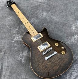 véritable électrique Promotion En stock Guitare électrique humaine, plateau en érable piqué noir transparent, touche Maple Guitarra, affichage de photos réelles, livraison gratuite.