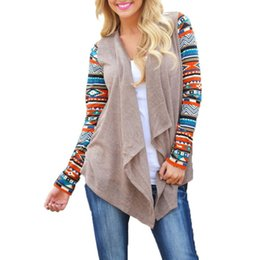 cotton knit cardigan plus size Promo Codes - 2019 Fine Knit Cardigan Women Stripe Patterned Long Sleeve Casual Loose Cotton Top Plus Size Asymmetric Hem Thin Sweater
