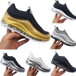 zapatos de tela para niños Rebajas Nike Air Max 97 Kid shoes Cuero y tela Transpirable Zapatos para niños al aire libre 97 OG TPU Construido en aire Niños al aire libre Amortiguadores Zapatos atléticos 28-35