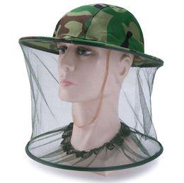 Outdoor Camo Cap Protezione del sole Cappelli da pesca Pratico insetto ape Zanzara Resistenza Bug Net Mesh Testa Hat Face da parrucche per i colori delle donne fornitori