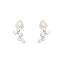 Ramo de pérola branca on-line-Pêra flor queda elegante, macio, branco pérola brincos de flor, coreano Baitao ramo orelha brincos de unha E836