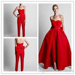 Две части формальные красные женщины комбинезоны вечерние платья съемная юбка милая платья выпускного вечера партии носить брюки для женщин с бантом назад от