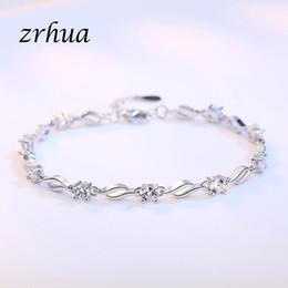 ZRHUA 925 Sterling Silver Cadeia Pulseira Minimalista Jóias Finas Para Mulheres Acessórios de Festa de Aniversário Branco Roxo CZ Bijoux de
