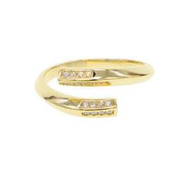 Anéis de dedo abertos on-line-S925 Sterling Silver gold filled sparking cz abertura midi anel de dedo para as meninas casamento top quality delicado anel ajustável