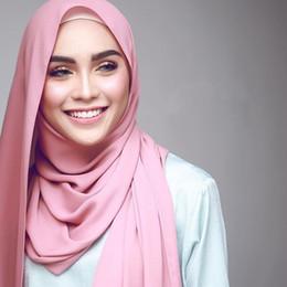 chiffon hijab schals Rabatt 10 teile / los Großhandel Chiffon Schal Schals Zwei Gesicht Hijab moslemische schals / schal 47 farben 180 * 75 cm