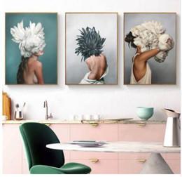 2019 lona de pintura a óleo de girassol Modernos Cartazes e Estampas Flores Mulheres Pena Impressão Pintura A Óleo Da Arte Da Parede Da Lona Retratos para Sala de estar Decoração de Casa