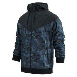 Мужская ветровка с капюшоном онлайн-Бренд дизайнерские мужские куртки пальто осень толстовка с капюшоном камуфляж ветрозащитный с длинным рукавом дизайнер толстовки молния мужская одежда с капюшоном M-3XL