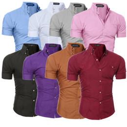 Homens camisa de escritório on-line-Camisa Blusa dos homens de luxo Slim Fit Manga Curta Elegante Verão Homens Moda Escritório de Negócios Camisa Formal Top Plus Size M-3XL
