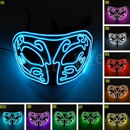 Mascherata maschera completa online-Halloween LED Light EL Half Face Light Mask Mezza faccia superiore Incandescente Cosplay Masquerade Maschere horror MMA2461