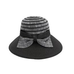Cappello elegante estivo per le donne online-2018 New Elegant Women Bow Patched Patchwrok Cappelli estivi per le donne Panama Sunhats Beach Hat Bow apertura Bone Cotton Hat
