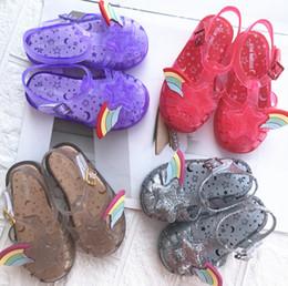 Melissa Jelly Schuhe glänzende Kinder Regenbogen Sterne Sandalen Mädchen hohlen rutschfeste Prinzessin Sandalen Kinder transparent Kristall Strandsandalen F631 von Fabrikanten