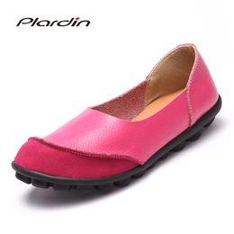 2020 scarpe da ballo scarpe fatte a mano Plardin donne Plus Size 34-44 cuoio Handmade di giunzione Flats Mocassini Mocassini Ballerine donne comode dei pattini casuali molli sconti scarpe da ballo scarpe fatte a mano
