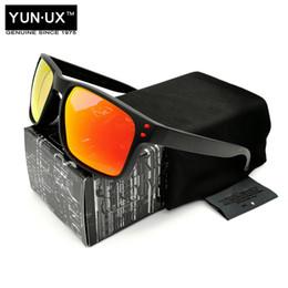rubinrote brille Rabatt Modedesign Marke polarisierte Sonnenbrille YO92-44 Serie für Männer rauchen schwarzes Rahmen-rotes Logo mit Unterzeichnungs-karminroten Objektiv-Gläsern Freies Verschiffen