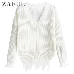Suéteres de encaje dobladillo online-ZAFUL gota hombro suéter apenada para las mujeres con cuello en V color sólido atan para arriba rasgada de la borla Hem Superior Femenina del resorte del otoño
