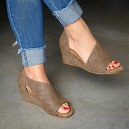 2019 couro cunhas sapatos 2019 Mulheres Verão Sandálias Torridity Sapatos Moda Casual Roma Peep Toe Cunha Salto Sapatos De Couro Sandálias couro cunhas sapatos barato