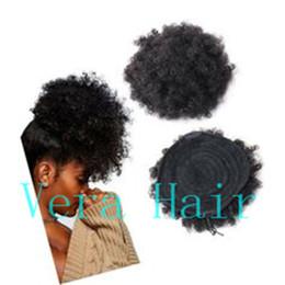 2019 großhandel natürliches haar hairpiece Afro Kinky Curly Ponytails Haarverlängerungen für Afroamerikaner Kinky Coily Natural Clipin Ponytail Haarteile Lockiger Kordelzug