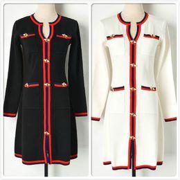 camisolas para escritório feminino Desconto Atacado Inverno Listrado Vestido De Malha Para As Mulheres Manga Longa Queda Camisola das Mulheres Vestido Moda Escritório de Negócios Senhora Magro Bordado Vestidos