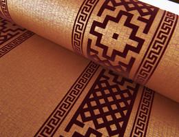 Оптовая продажа-современные современные геометрические обои нейтральный Греческий Ключ дизайн флок обои для спальни 0.53 м х 10 м рулон от