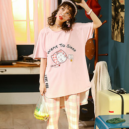 strickte nachthemden Rabatt Sommer Gestrickte Baumwolle Junge Frauen Pyjama Set Elegante Womens Kariert Pijama Nachthemden Hosen Pyjama Sets Nachtwäsche Pyjamas Haus