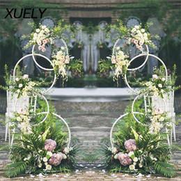 Cenário de parede de aniversário on-line-adereços de casamento círculo de ferro forjado suporte de flor artificial prateleira de parede 4 rodada arco anel contexto redondo arco decoração de aniversário