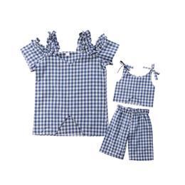 Argentina Juego de ropa a cuadros para toda la familia Blusa camisa Madre Hija Bebé Plaid Top Pants Summer Casual Set Suministro
