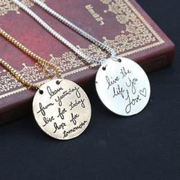 Colliers coeur amour pour toujours en Ligne-Collier famille amour la vie que vous aimez lettres collier colliers Forever Love Heart pendentif