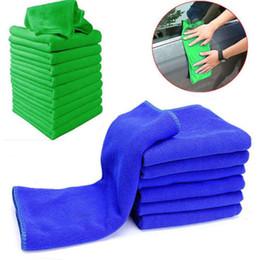 Limpieza de muebles de microfibra online-Lavado de microfibra Toallas limpias Paños de limpieza Azul Mobiliario de limpieza Plumero Paños suaves 30x30cm