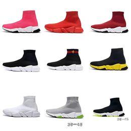2019 rendas de bailarina Balenciaga Sock shoes Luxury Brand  Runners Casual Sneakers Desporto Moda luxurys para as Mulheres Homens Speed Trainer off Black White Red Sock Sapatos