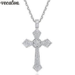 men big crosses Promo Codes - Vecalon Big Cross pendant 925 Sterling silver 5A zircon Wedding Engagement Pendants with necklace for Women Men Jewelry