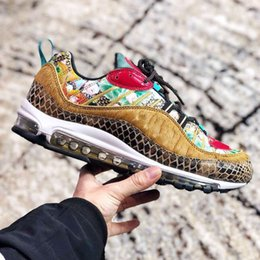 e07442961649 High Quality 98 CNY Chinese New Year pony hair snakeskin lotus flowers  Chinese artwork Men Sports Shoes 98s Beige Red Mens trainers Sneakers lotus  shoes for ...