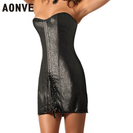 Сексуальная кожаная готическая одежда онлайн-AONVE Corset Sexy Gothic Clothing PVC Corsets and Bustiers Lace up PU Leather Corcepet Retro Sexy korset Corsage Corzzet Dress