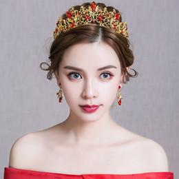 Vintage Red Rhinestone Tiara Crown Gold Color Metal Headband Hair Jewelry  Bridal Wedding Headdress Women Party Headpiece Earring 1ed8c400c5e3
