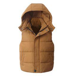 Старая детская жилетка онлайн-Детский жилет Детская верхняя одежда Зимние пальто Детская одежда Теплый хлопок с капюшоном Мальчики Девочки Жилет для возраста 5-14 лет