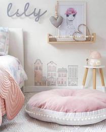 moomin hülle Rabatt 4 farbe 90 cm kinder carpet rund quaste ball dekoration matte hautnah baumwolle heißer verkauf baby krabbeln matte