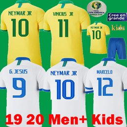 2019 2020 Copa America Brasilien Fußball Trikots 19 20 T-Shirt Brasilien VINICIUS COUTINHO DANI ALVES JESUS MARCELO Kinder Maillots Fußball Trikots von Fabrikanten