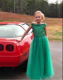 2019 vestido de niña de flores verde pedrería Hunter Green Boat Neck Vestidos para niñas 2020 Rhinestones Vestido de niña de las flores de tul con cuentas Vestido de primera comunión Boda de país rebajas vestido de niña de flores verde pedrería