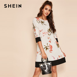 c74ce244b1 SHEIN Boho White Botanical Floral Print Two Tone Colorblock Straight Dress  Women Summer Round Neck Short Solid Shift