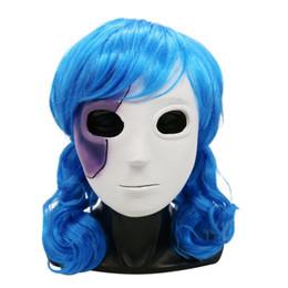 2019 costume blu in lattice Sally Viso Cosplay Mask parrucche puntelli di Sally Lattice Maschera Capelli corti parrucca blu clip costumi Ponytails Parrucche di Halloween sconti costume blu in lattice