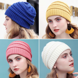 523f836d727 Drop Shipping Warm Beanie Women Cap Winter Hats For Women Stretch Cable  Knit Ski Cap Hat With Tag Slouchy Soft Skullies Beanie S18120301