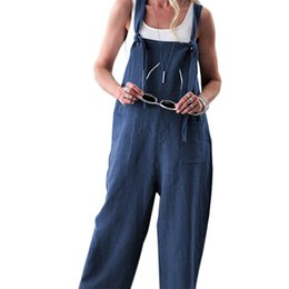 Mode Frauen Latzhose Reine Farbe Pluderhose Hose Lose Gerade Overall Baggy Hosen Overalls von Fabrikanten