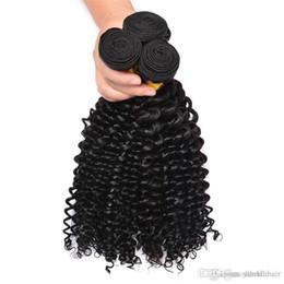 Pelo humano trenzado de onda profunda online-Virgin Indian Remy Hair Deep Wave 3 paquetes Armadura de pelo rizado 3 piezas Remy Extensiones 300G Trama de armadura de cabello humano sin procesar Sin trenzar Natura